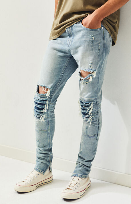 57a555138519 Ripped Moto Light Stacked Skinny Jeans