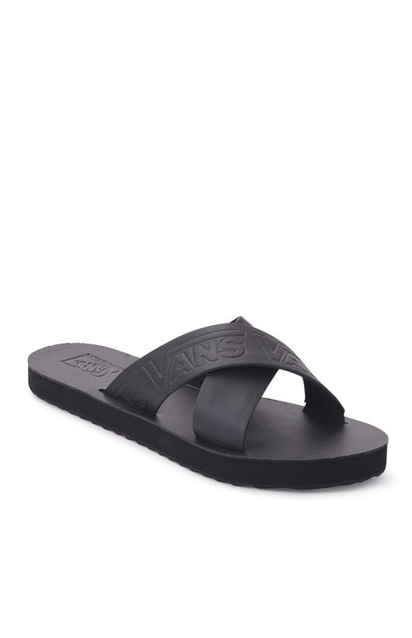 Women's Black Cross Strap Sandals
