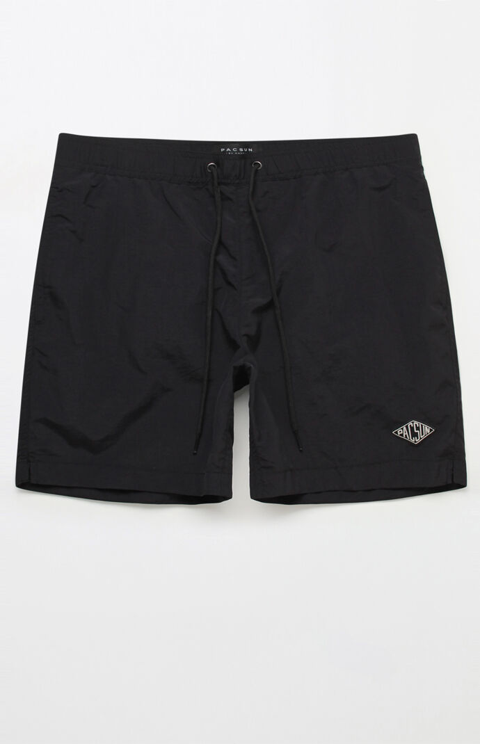 "Solid Black 17"" Swim Trunks"