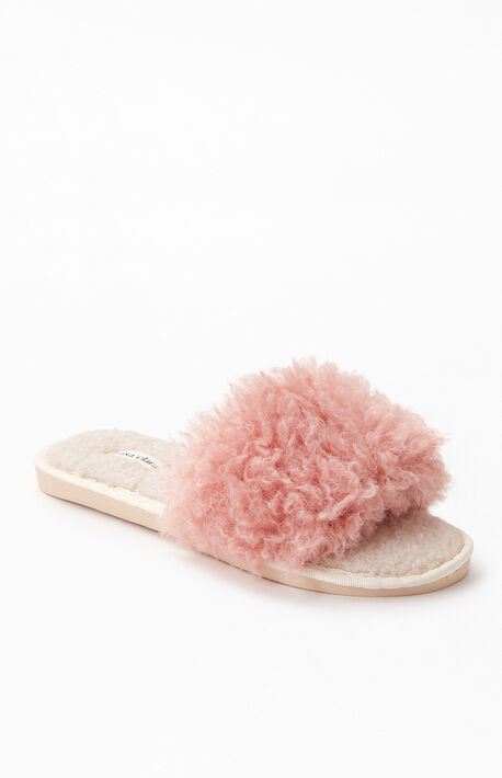 Pink Fuzzy Slide Slippers