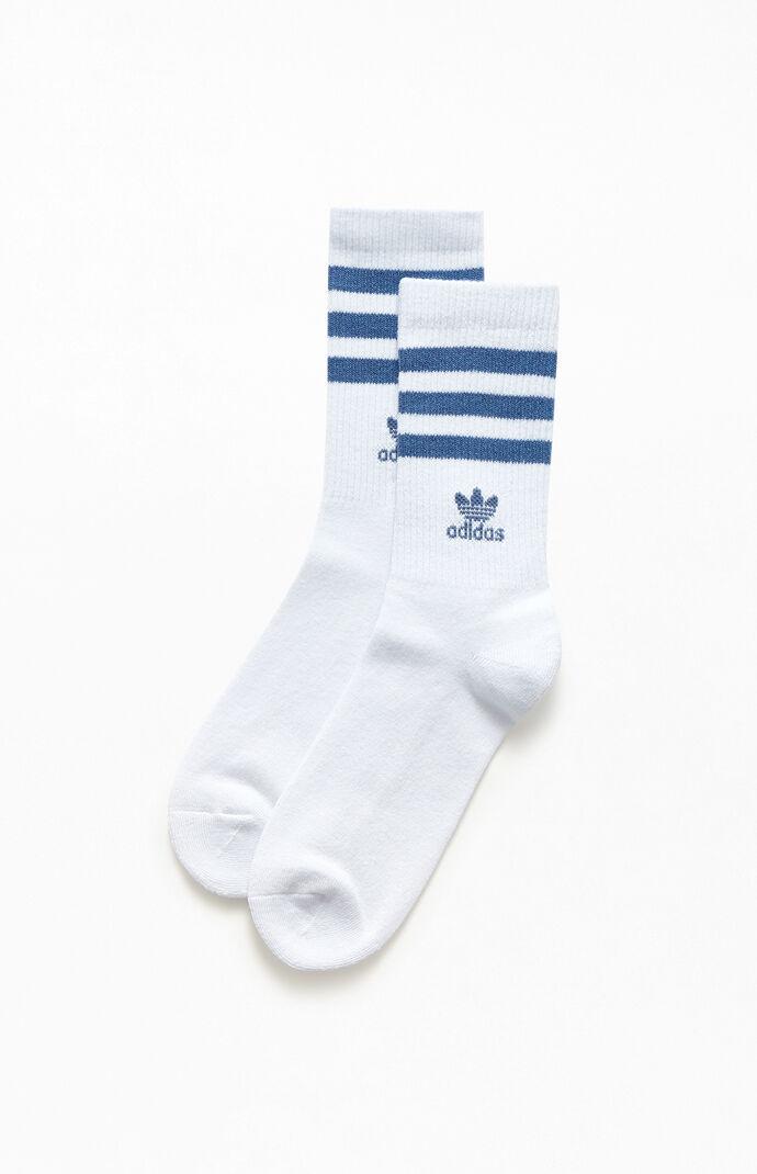 White & Blue Recycled Single Crew Socks