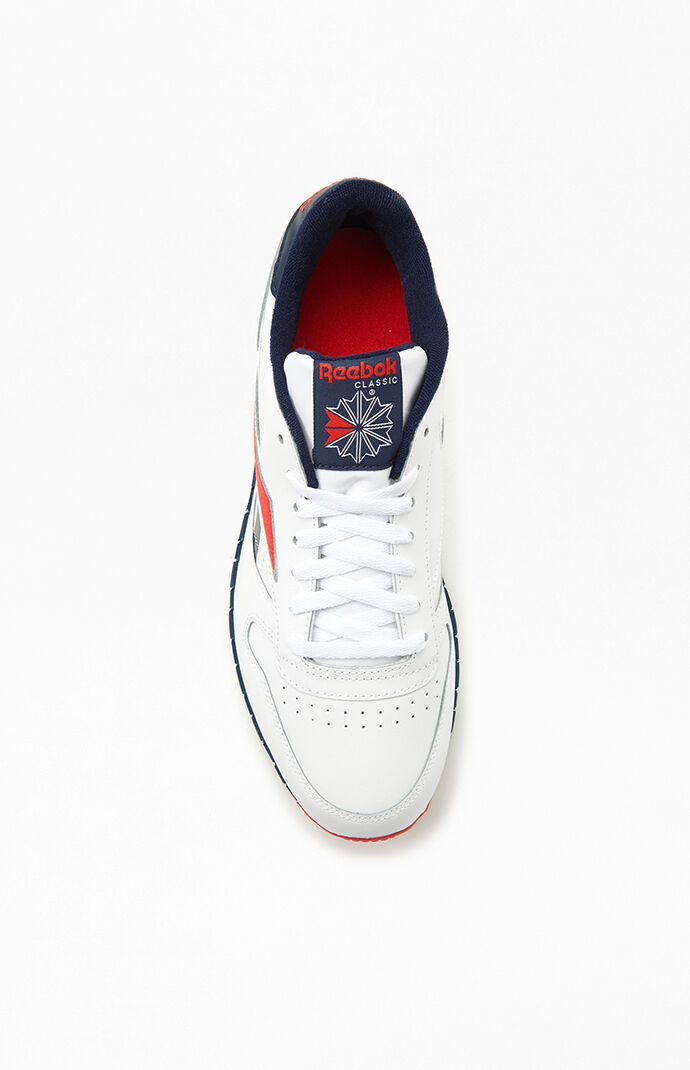 White Red & Navy Classic Leather Shoes
