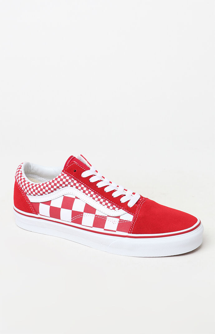 1f41a9cf35 Vans Red Mix Checker Old Skool Shoes