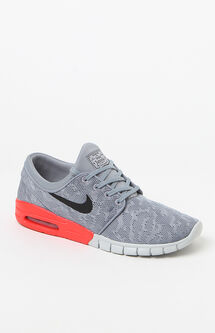 Stefan Janoski Max Grey & Red Heel Shoes