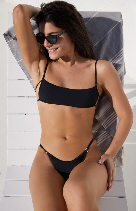 Black Drea Ring Balconette Bikini Top