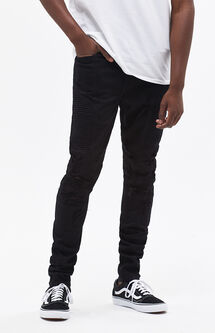 Stacked Skinny Comfort Stretch Moto Black Jeans