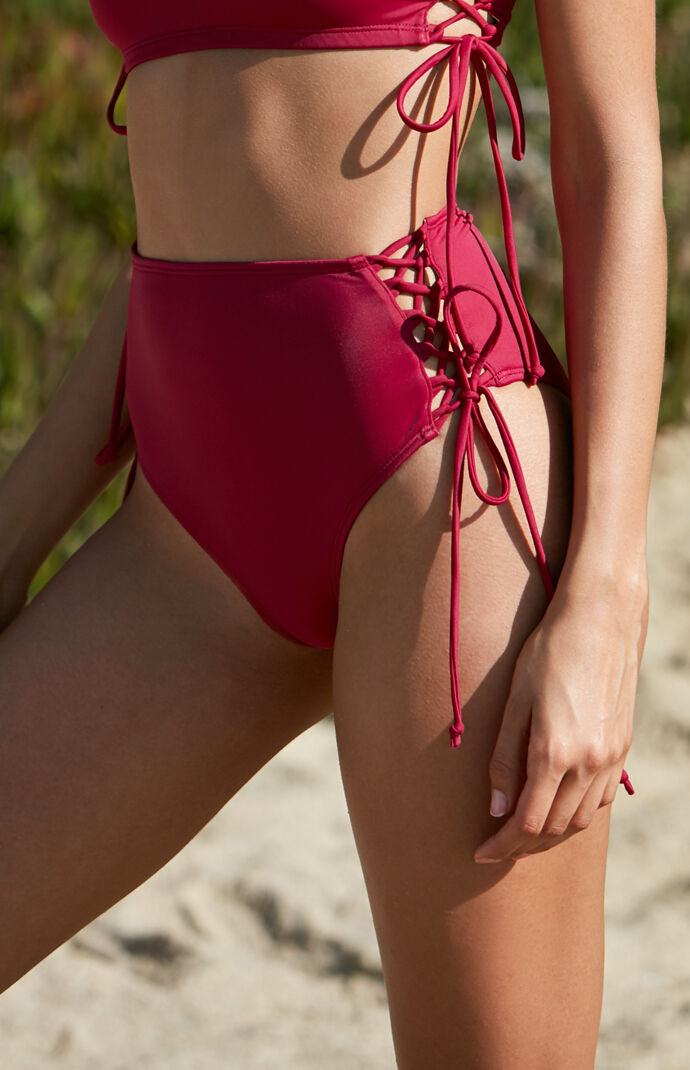 LA Hearts Red Side Lace-Up High Rise Bikini Bottom  8c7396f75