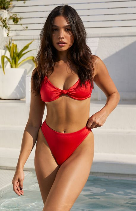 Red Emmy Knotted Bikini Top