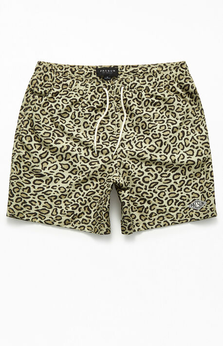 "9614f9ea52 Leopard Print 17"" Swim Trunks"
