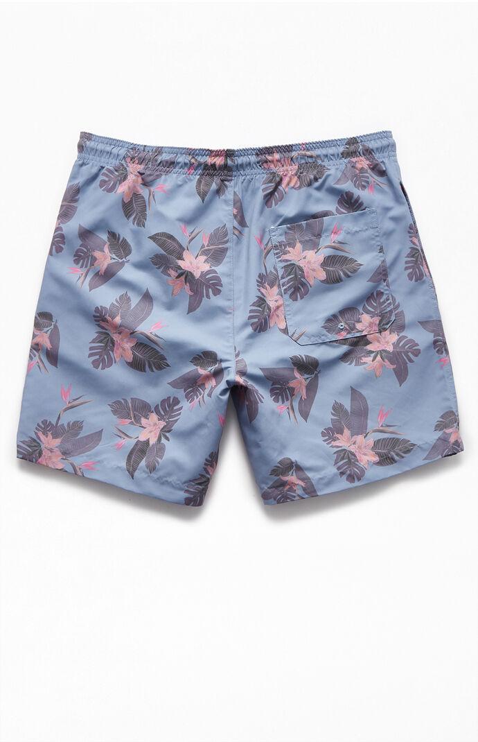 "Blue Floral 17"" Swim Trunks"
