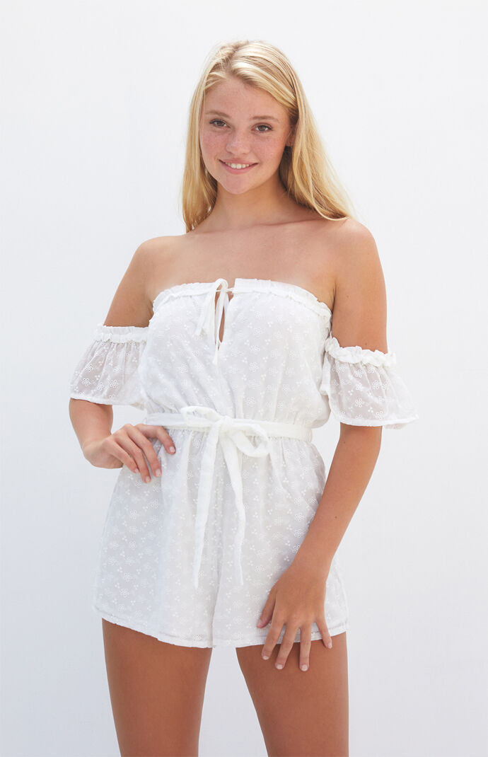 Off-The-Shoulder Eyelet Romper