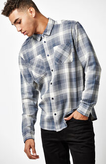 Neutral Plaid Flannel Long Sleeve Button Up Shirt