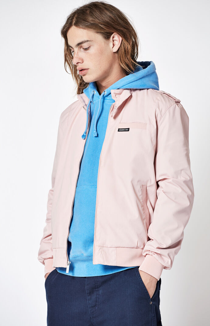 Members Only Mens Original Iconic Racer Jacket - Pink 7469836