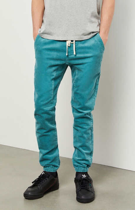 Teal Basic Corduroy Jogger Pants