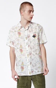 Happy Hour Short Sleeve Button Up Shirt