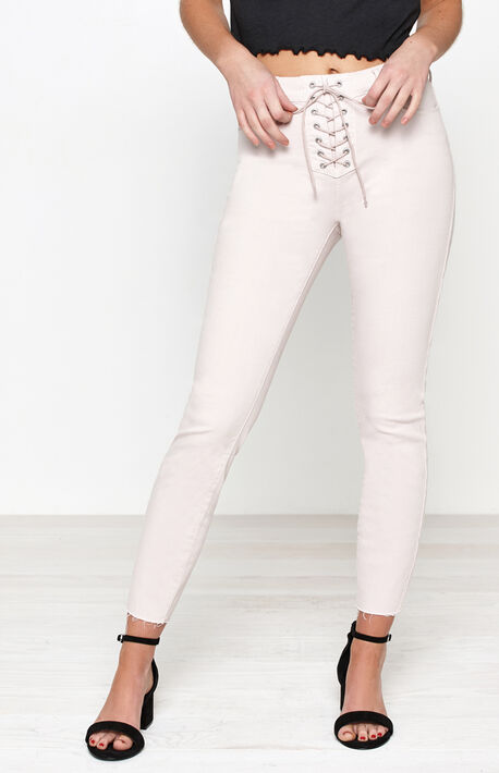 Mod Pink Lace-Up High Rise Jeggings