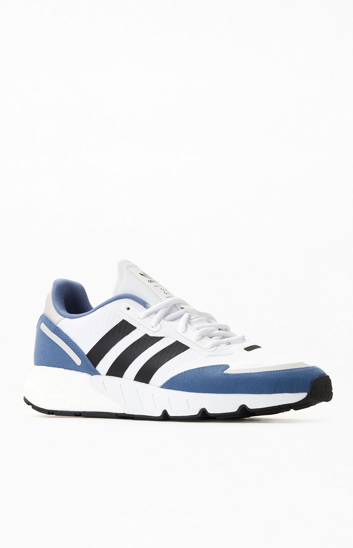 White & Blue ZX 1K Boost Shoes