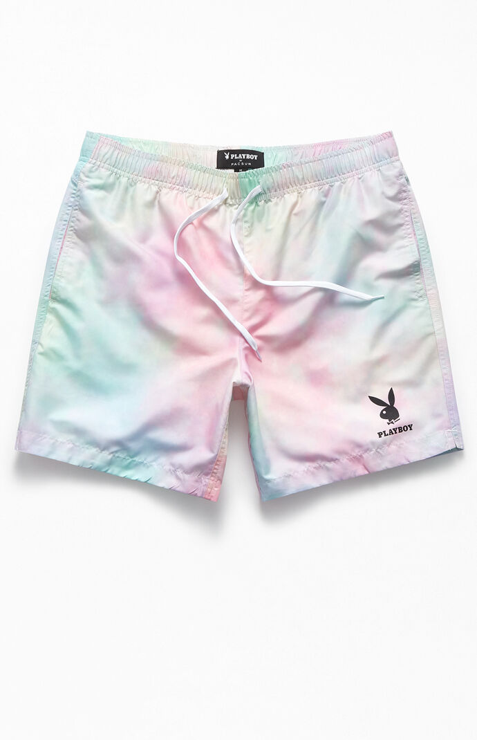 "By PacSun Tie-Dyed Logo 17"" Swim Trunks"
