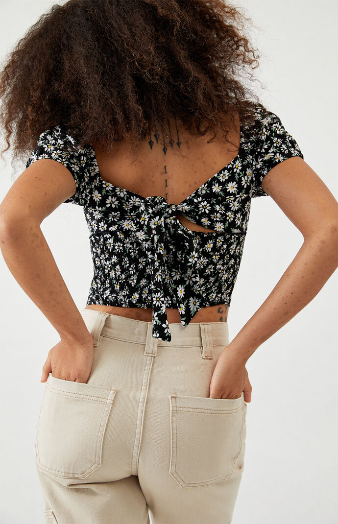 Tie Back Woven Top