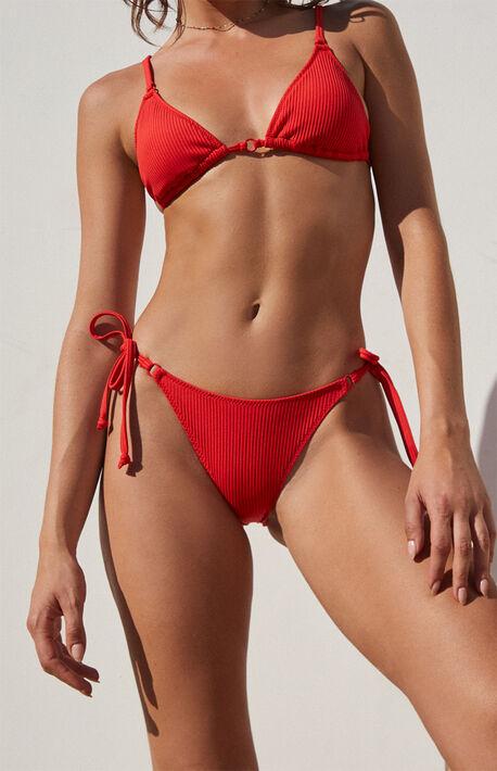 Red Tahiti Ring Side Bikini Bottom