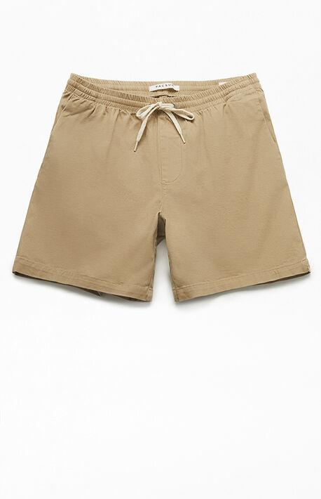 Khaki Stretch Twill Volley Shorts