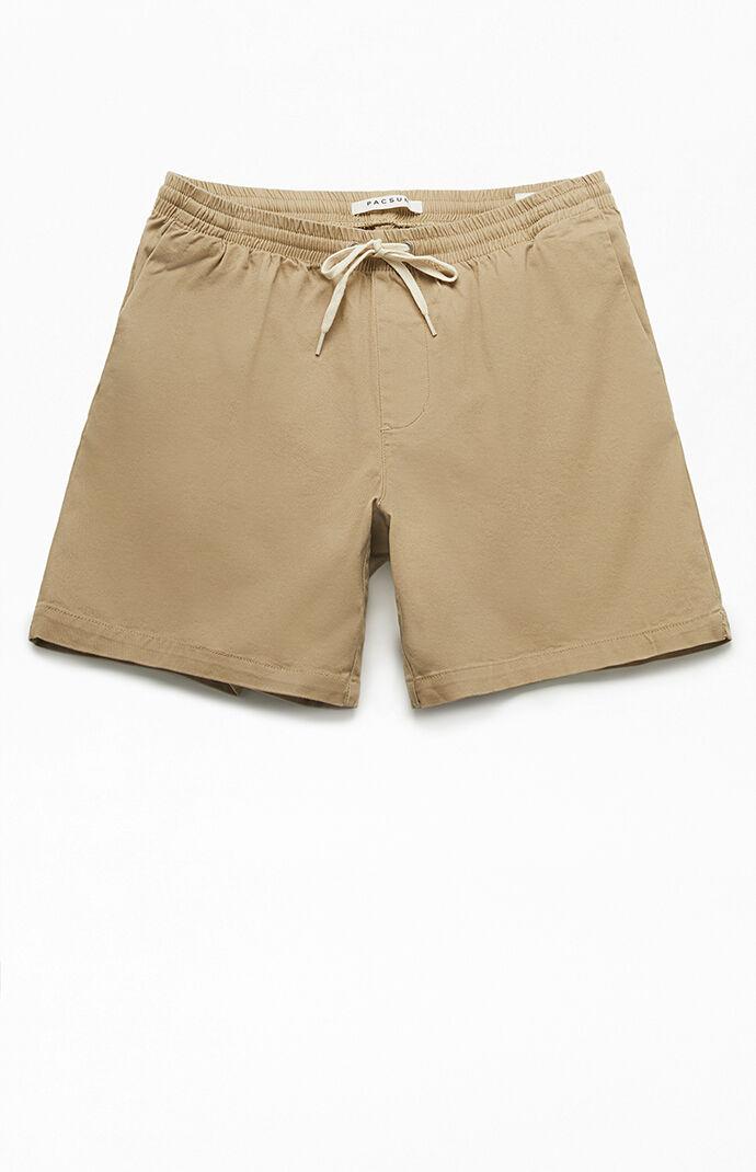 Khaki Stretch Twill Volley Shorts