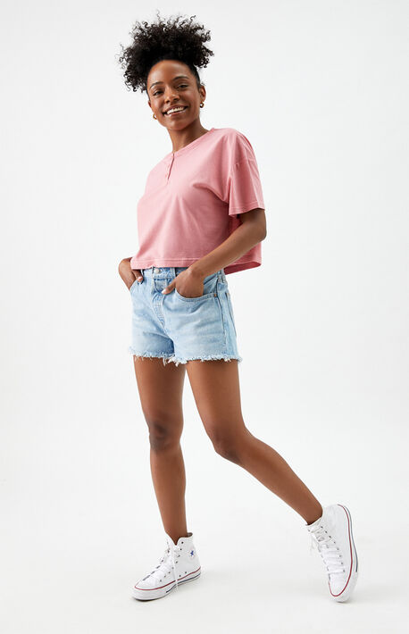 Light Blue 501 High Waisted Denim Shorts