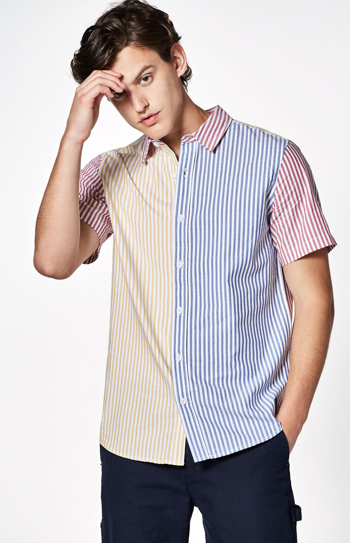 PacSun Mix-Up Striped Short Sleeve Button Up Shirt at PacSun.com 4a65e0581