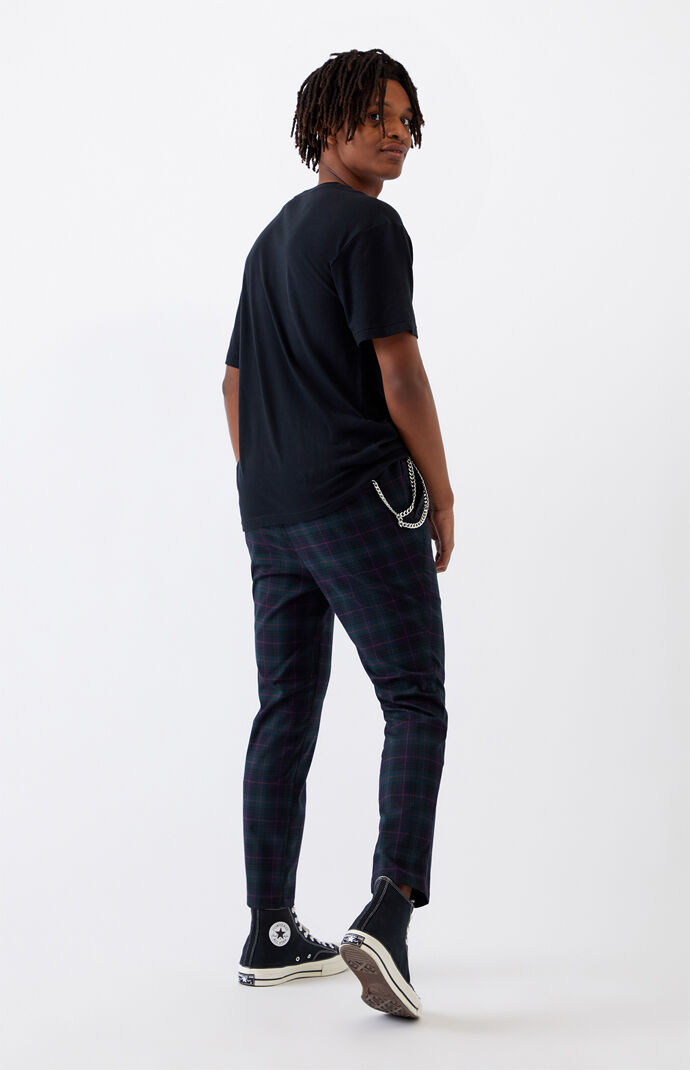 Blue & Red Plaid Slim Fit Pants