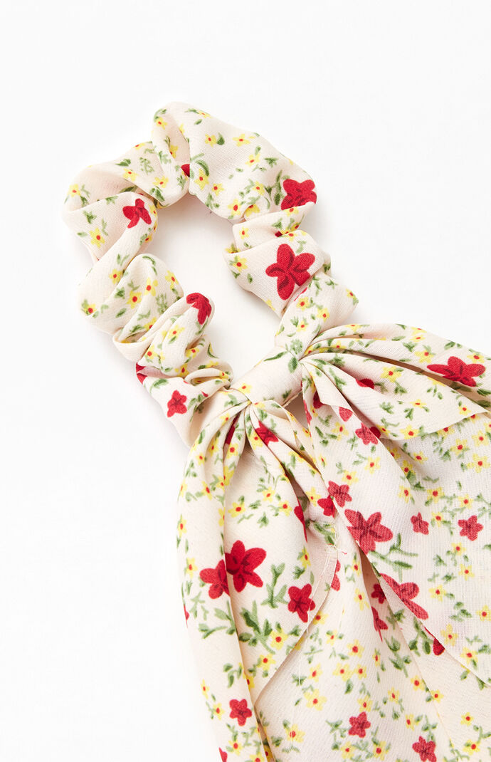 White Multi Floral Flowy Scrunchie