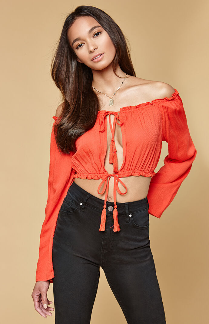 Honey Punch Womens Long Sleeve Tie Front Off-The-Shoulder Top - RED 6957245