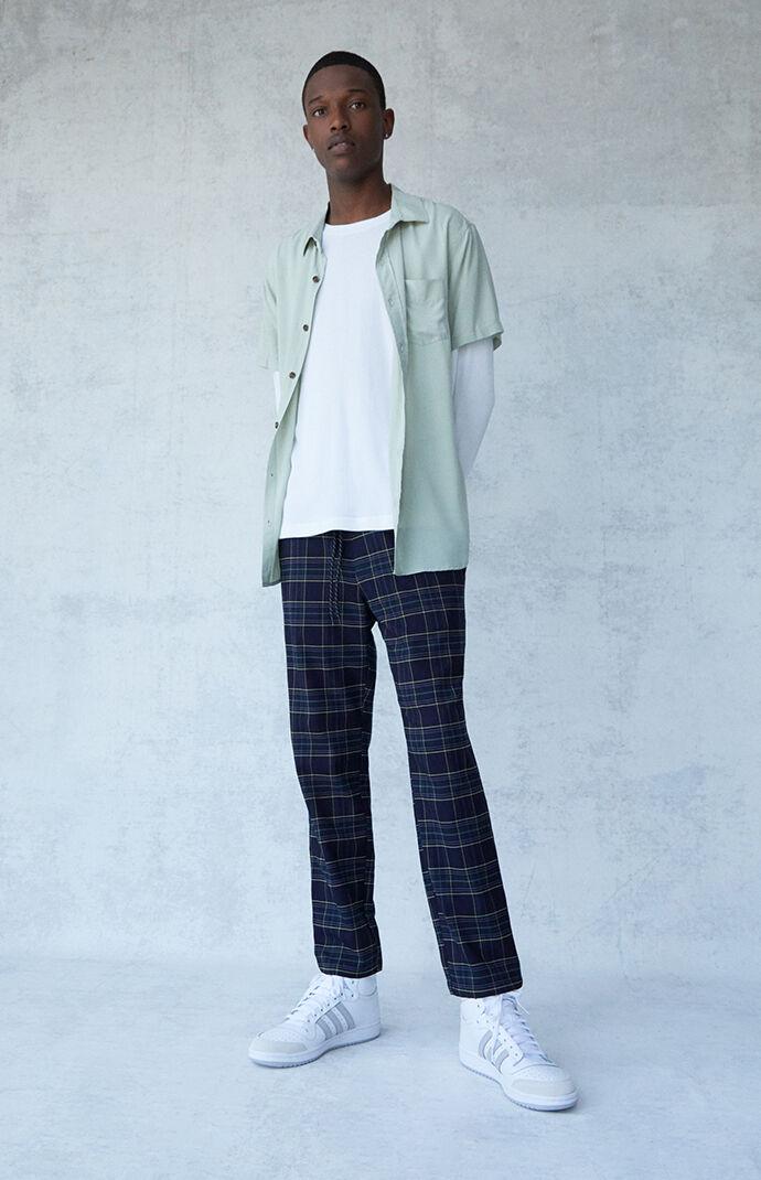 Arlo Navy Plaid Menswear Trousers