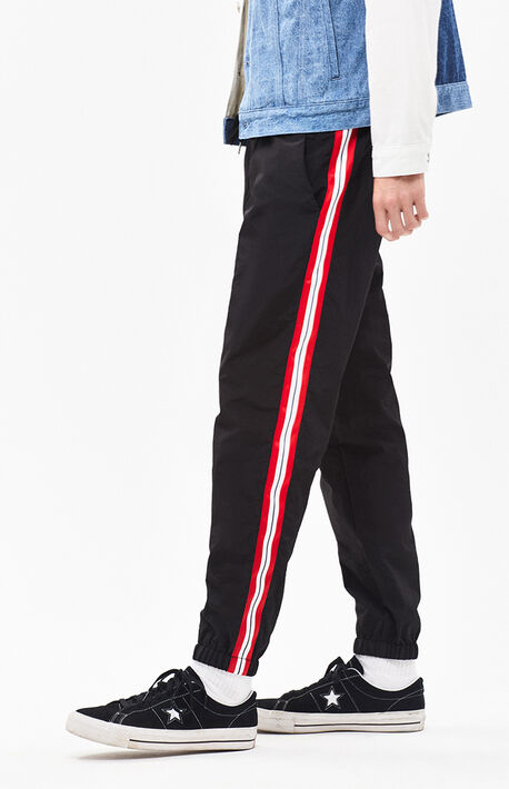 a5ed01db89 Warm Up Nylon Side Stripe Black & Red Pants