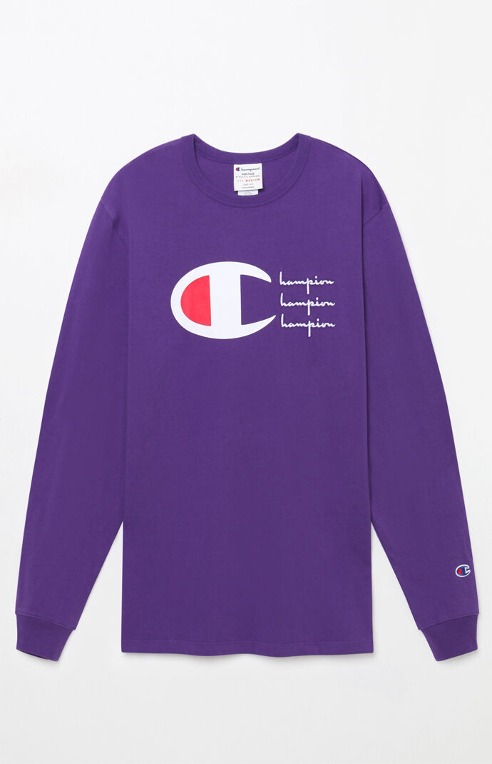64b693db Champion Script Heritage Long Sleeve T-Shirt | PacSun