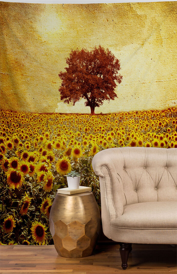 Lone Tree And Sunflowers Tapestry