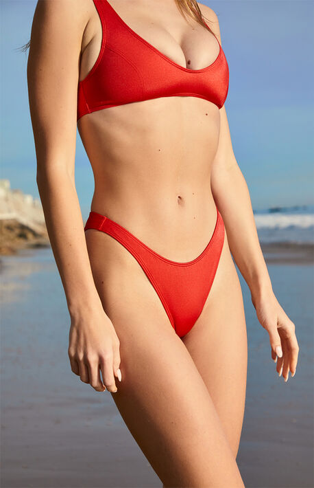 Red Nadia High Cut Bikini Bottom