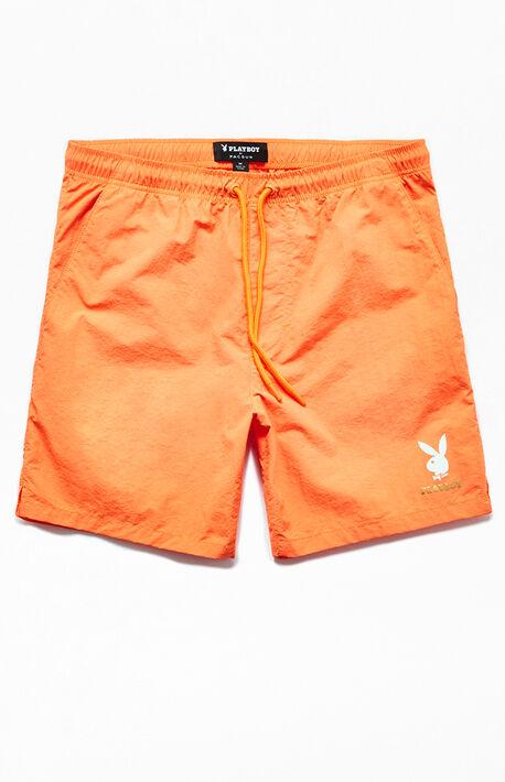 3ff8c7642c x Playboy Gold Text Nylon Shorts