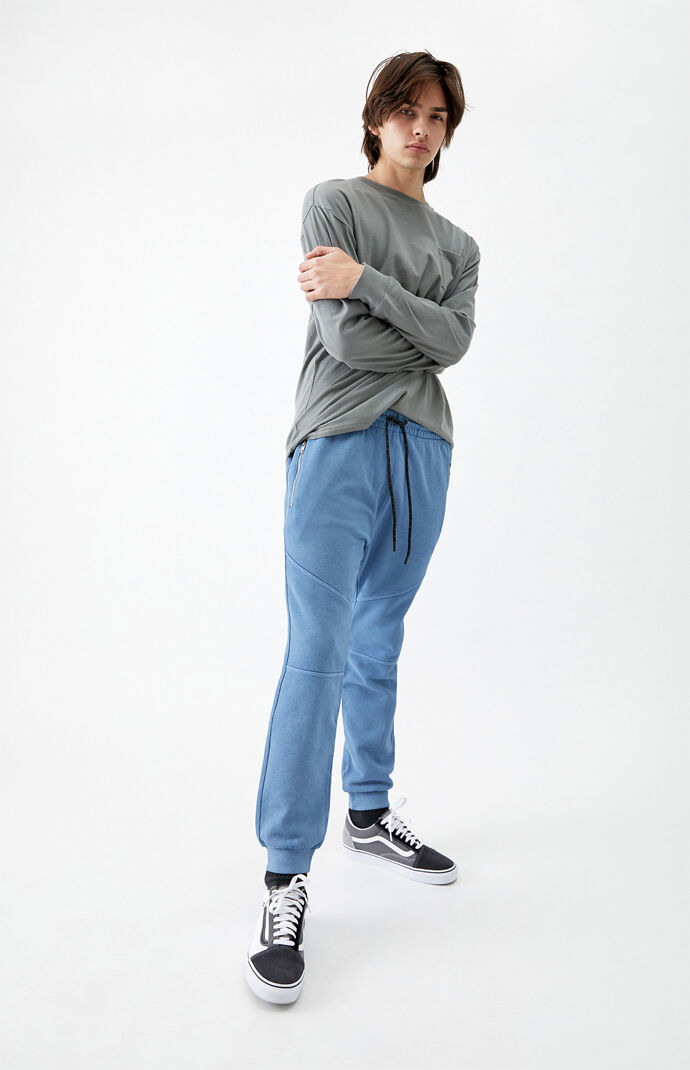 Blue Zip Pocket Paneled Fleece Sweatpants