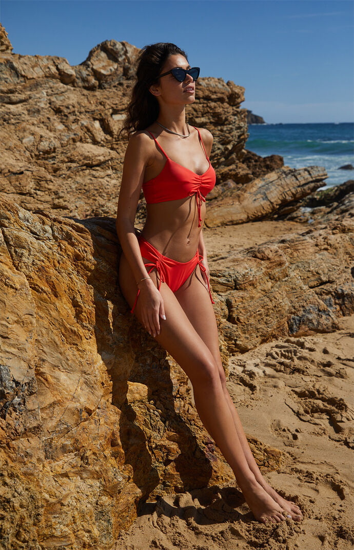 Eco Red Malibu Cinched Bikini Top