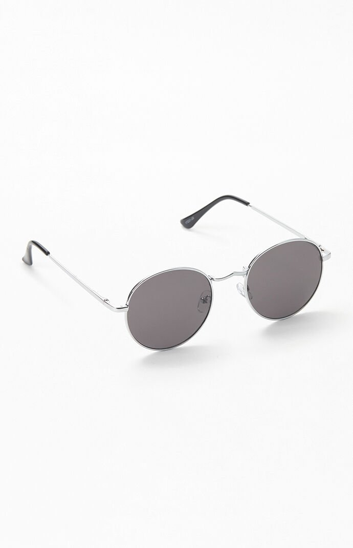 Silver & Black Round Metal Sunglasses