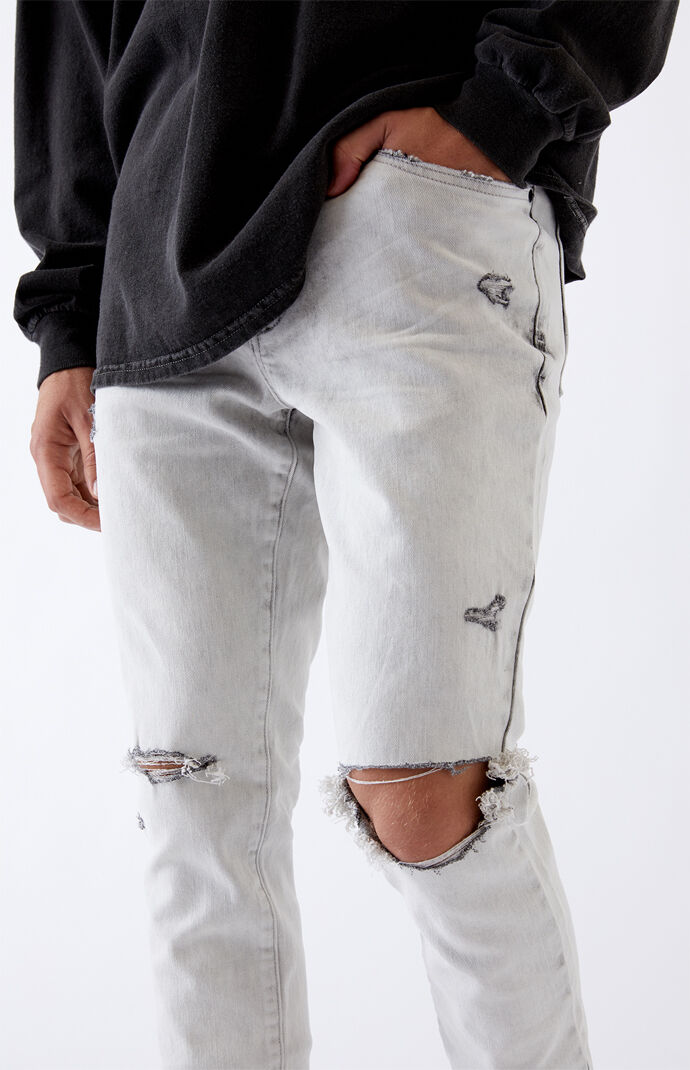 Bleach Ripped Stacked Skinny Jeans