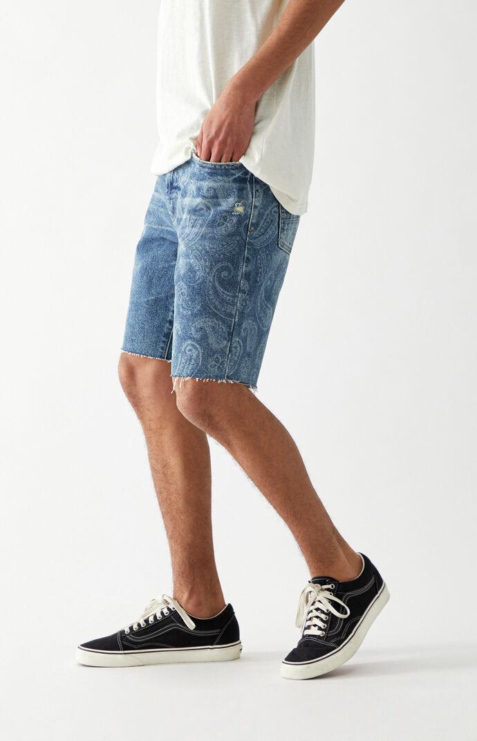 Medium Wash Paisley Denim Shorts