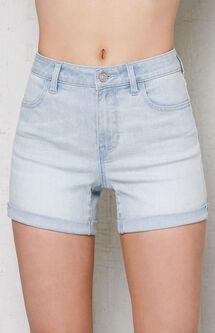 Thursday Blue Cuffed Denim Midi Shorts