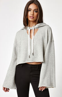Cutout Neck Pullover Hoodie