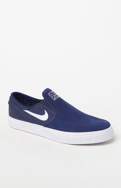 Zoom Stefan Janoski Slip-On Suede Blue  amp  White Shoes 692f4485de