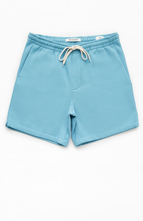 Blue Fleece Drawstring Volley Shorts