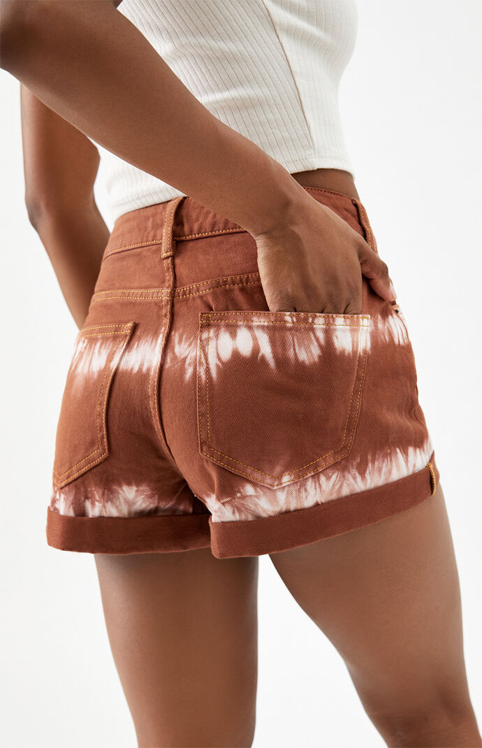 Tie Dye Brown Denim Mom Shorts