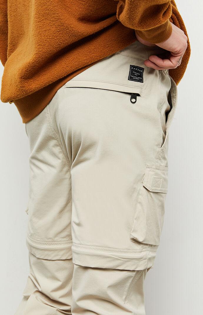 Khaki  Zip-Off Slim Cargo Pants