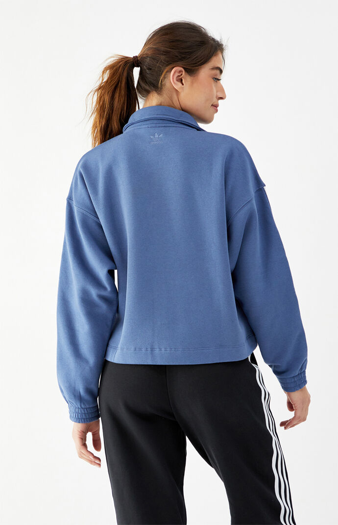 3D Trefoil Fleece Half Button Sweatshirt