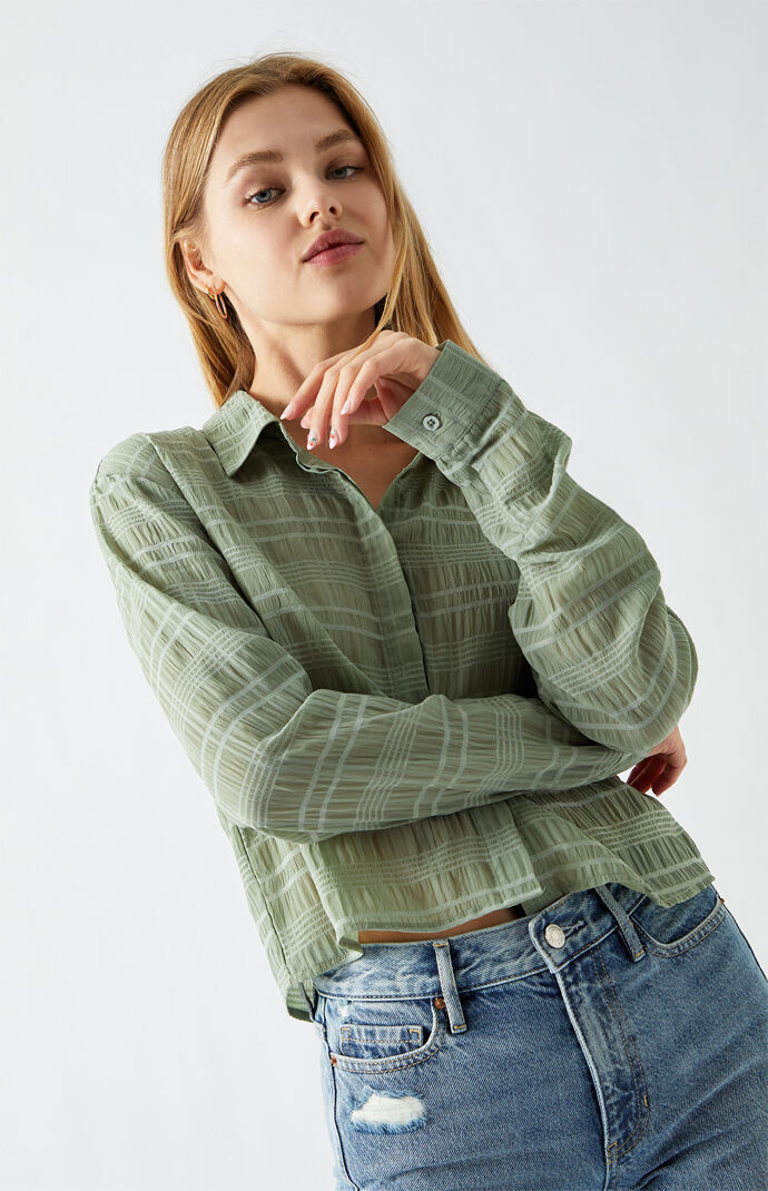 '90s Chiffon Button Down Shirt